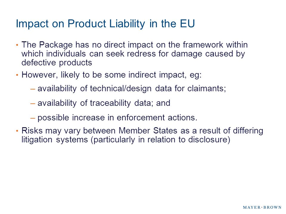 Impact on Product Liability in the EU