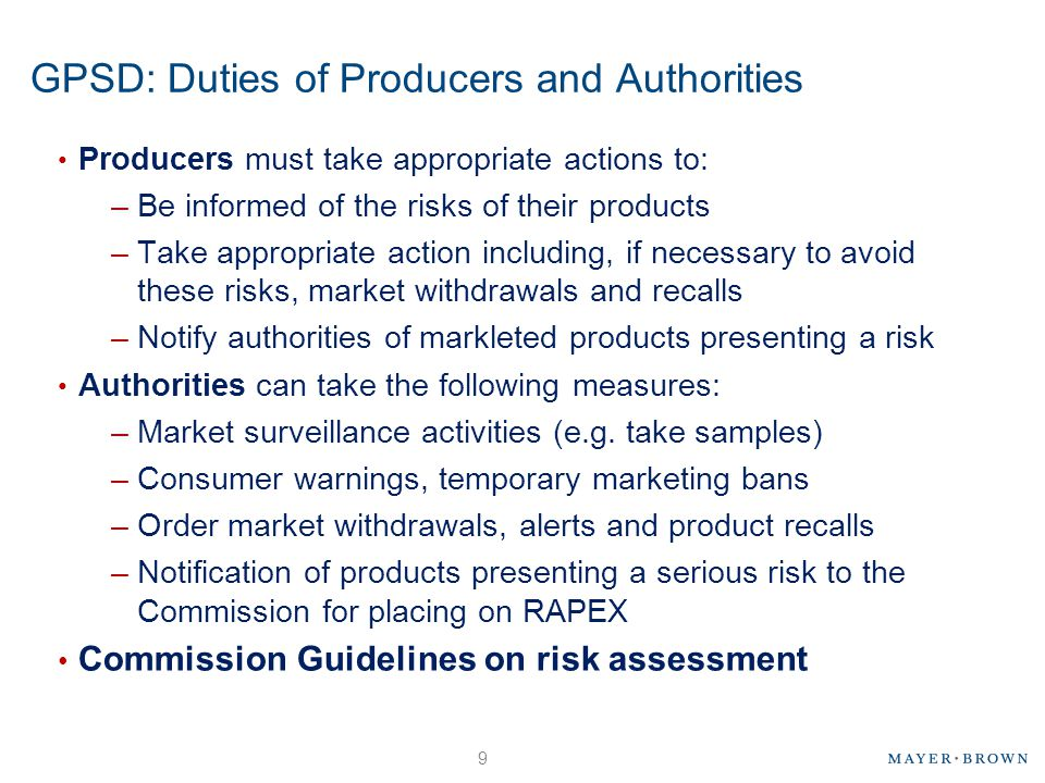 GPSD: Duties of Producers and Authorities