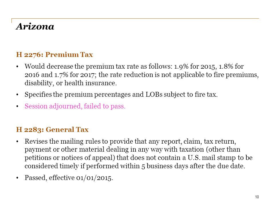 Date Arizona. H 2276: Premium Tax.
