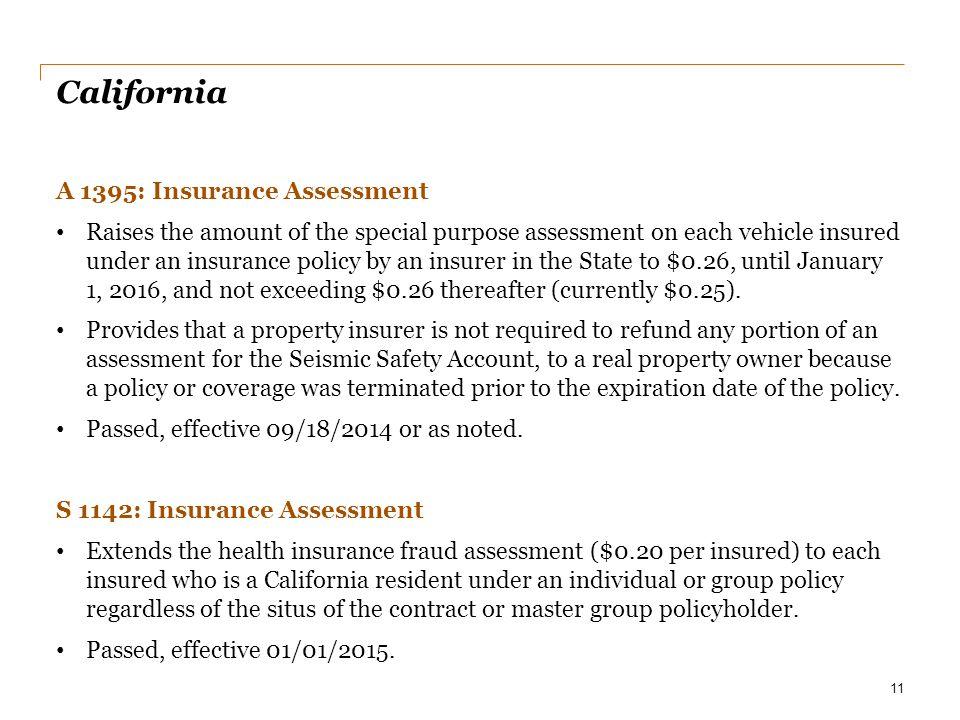 California A 1395: Insurance Assessment