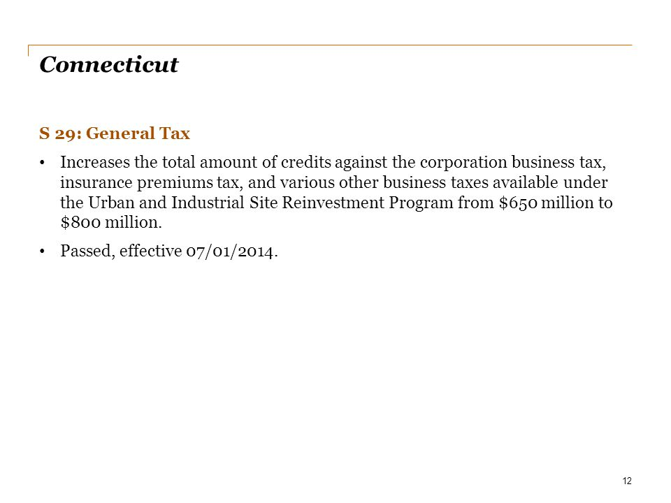 Connecticut S 29: General Tax