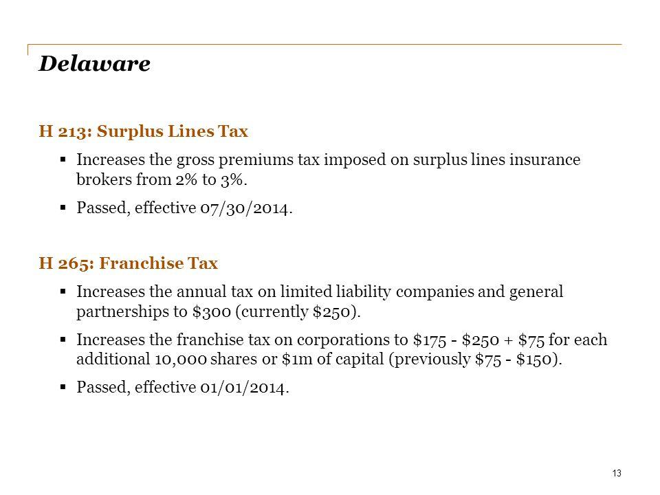 Delaware H 213: Surplus Lines Tax