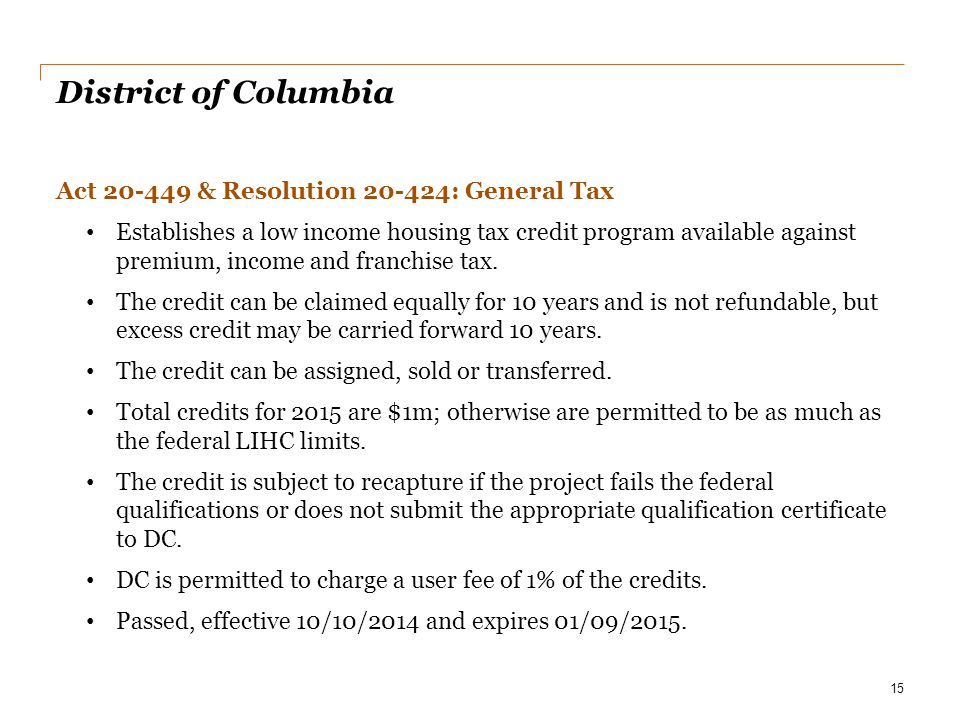 District of Columbia Act 20-449 & Resolution 20-424: General Tax