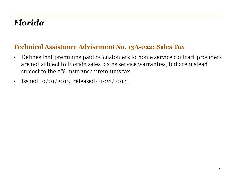 Florida Technical Assistance Advisement No. 13A-022: Sales Tax