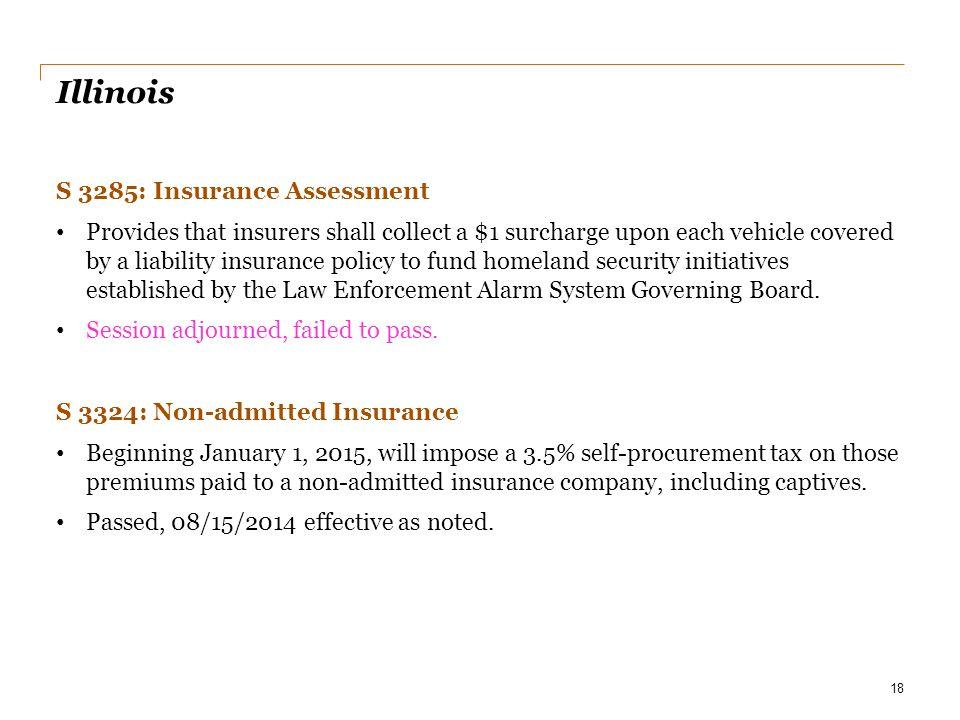 Illinois S 3285: Insurance Assessment