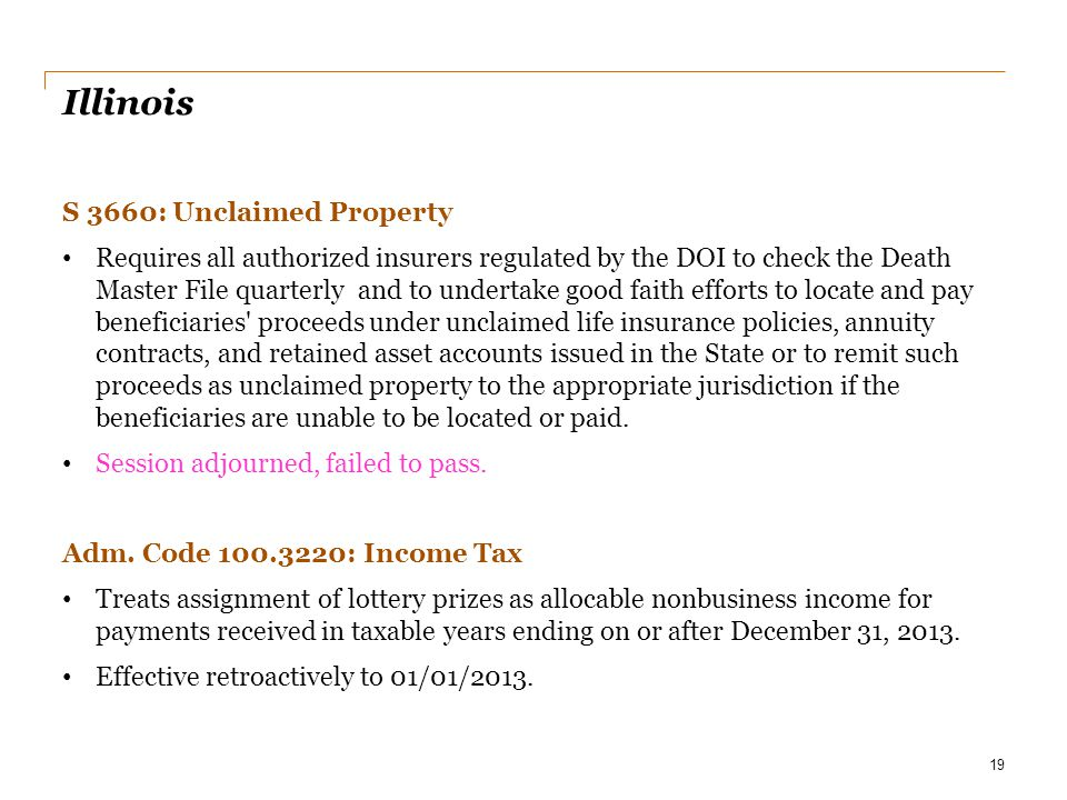 Illinois S 3660: Unclaimed Property