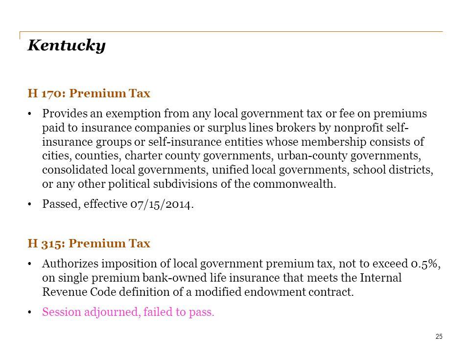 Kentucky H 170: Premium Tax