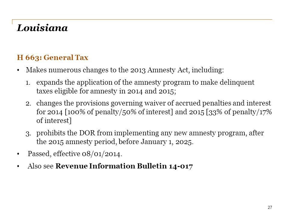 Louisiana H 663: General Tax