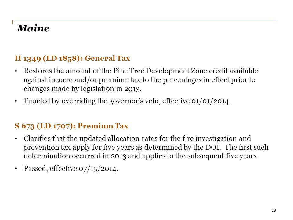 Maine H 1349 (LD 1858): General Tax
