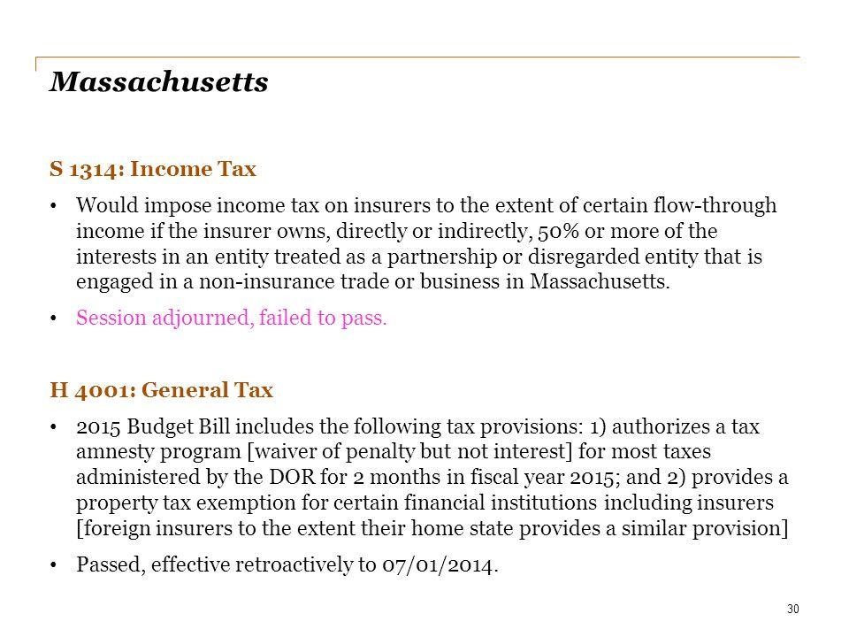 Massachusetts S 1314: Income Tax