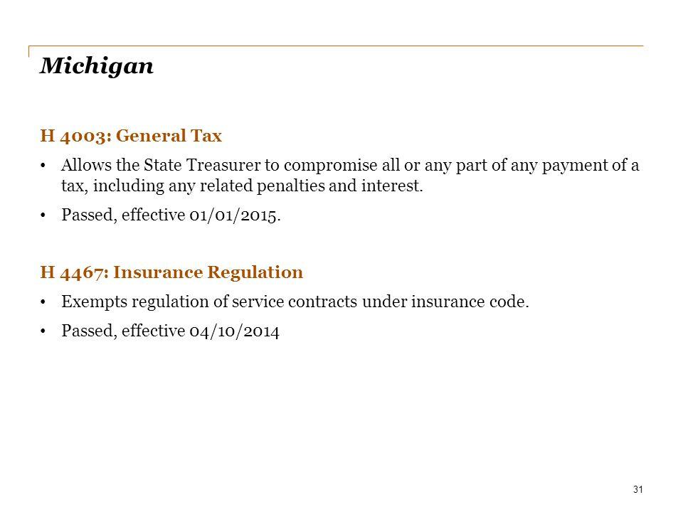 Michigan H 4003: General Tax