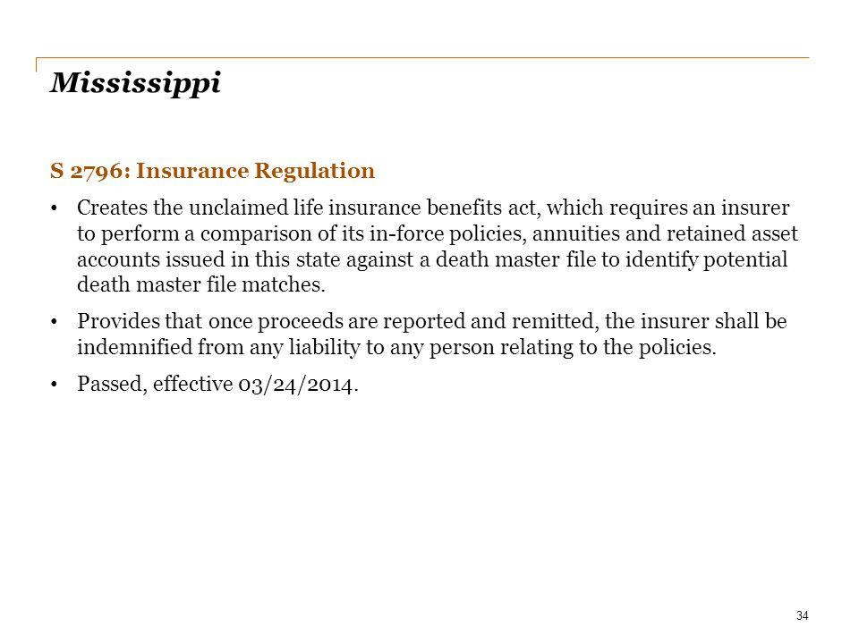 Mississippi S 2796: Insurance Regulation