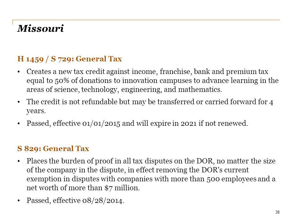 Missouri H 1459 / S 729: General Tax