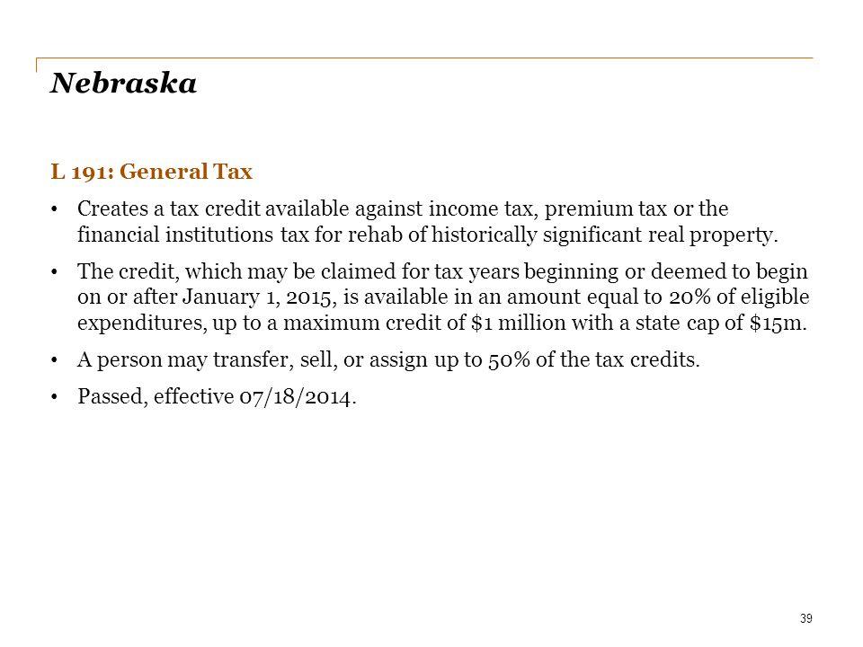 Nebraska L 191: General Tax