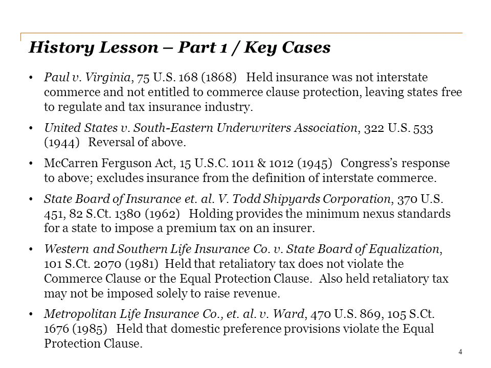 History Lesson – Part 1 / Key Cases