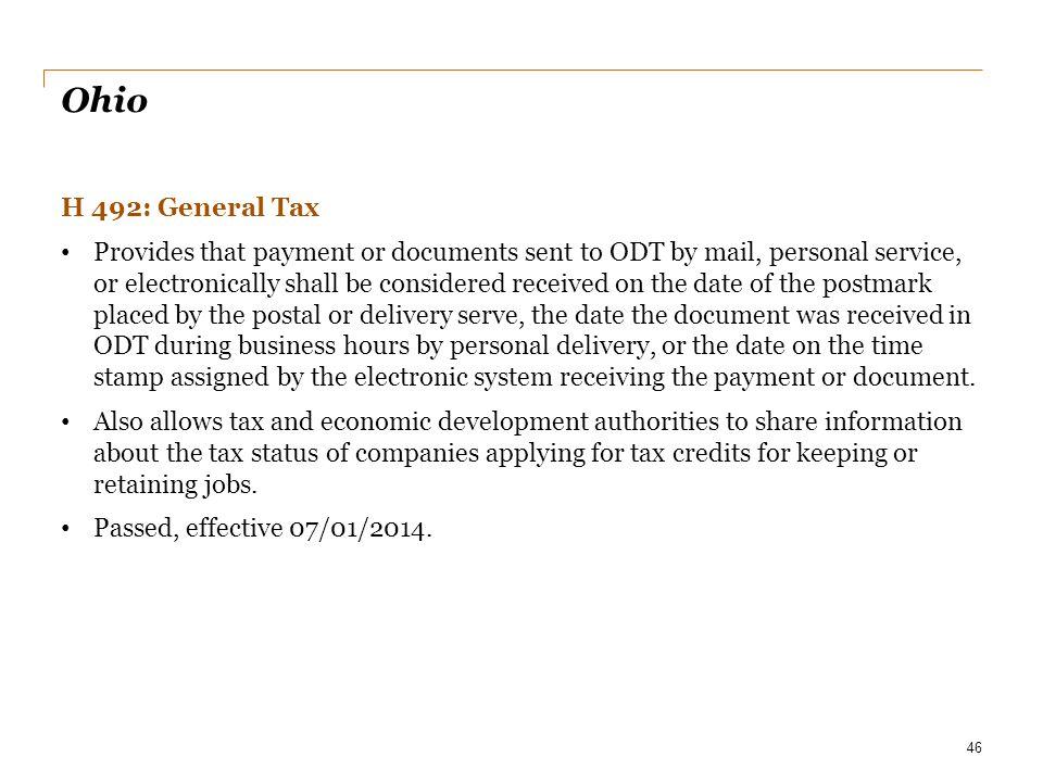 Date Ohio. H 492: General Tax.