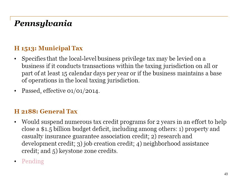 Pennsylvania H 1513: Municipal Tax
