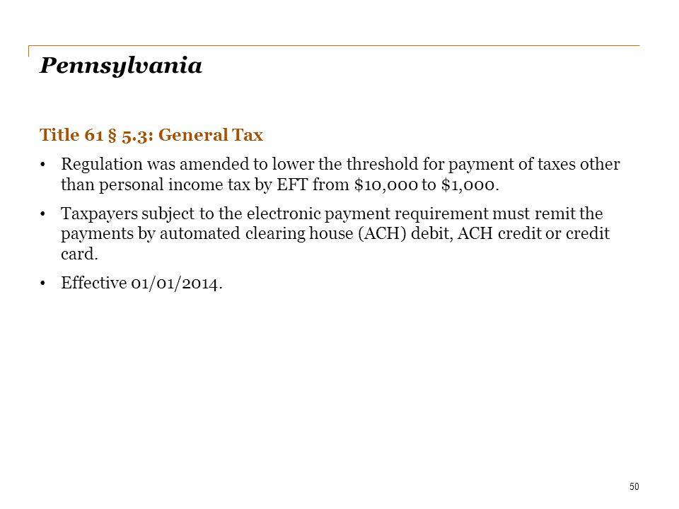 Pennsylvania Title 61 § 5.3: General Tax