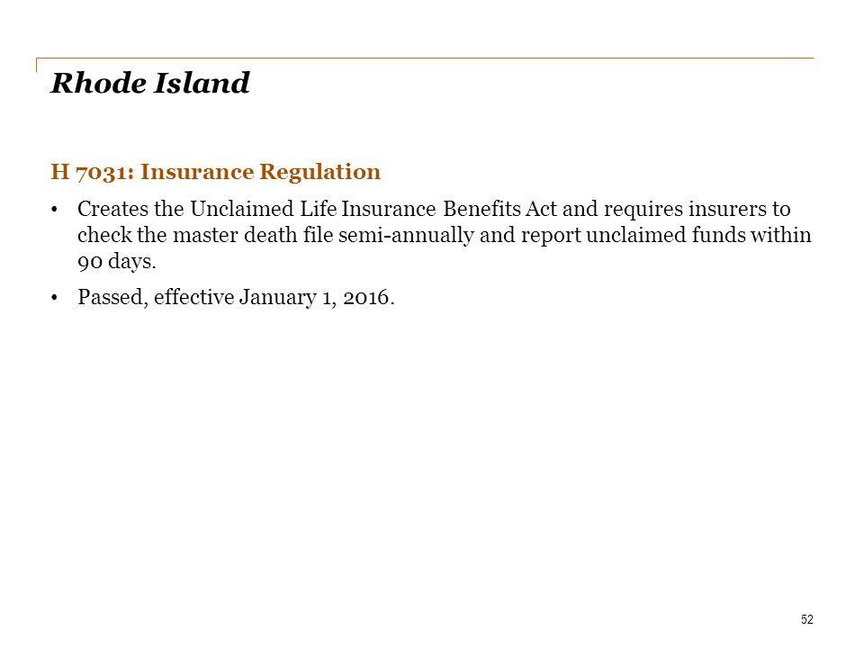 Rhode Island H 7031: Insurance Regulation