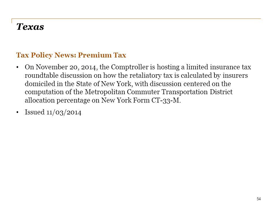 Texas Tax Policy News: Premium Tax