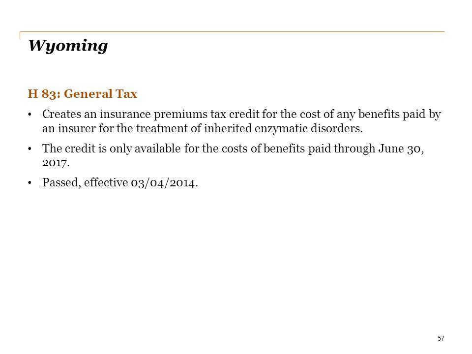 Date Wyoming. H 83: General Tax.