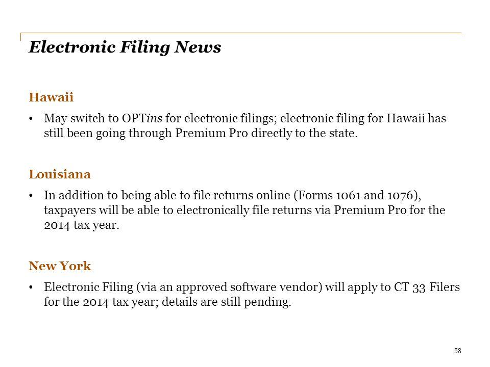 Electronic Filing News