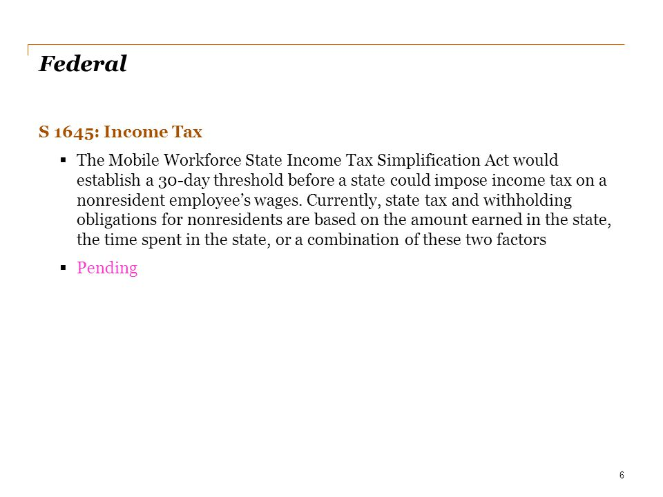 Date Federal. S 1645: Income Tax.