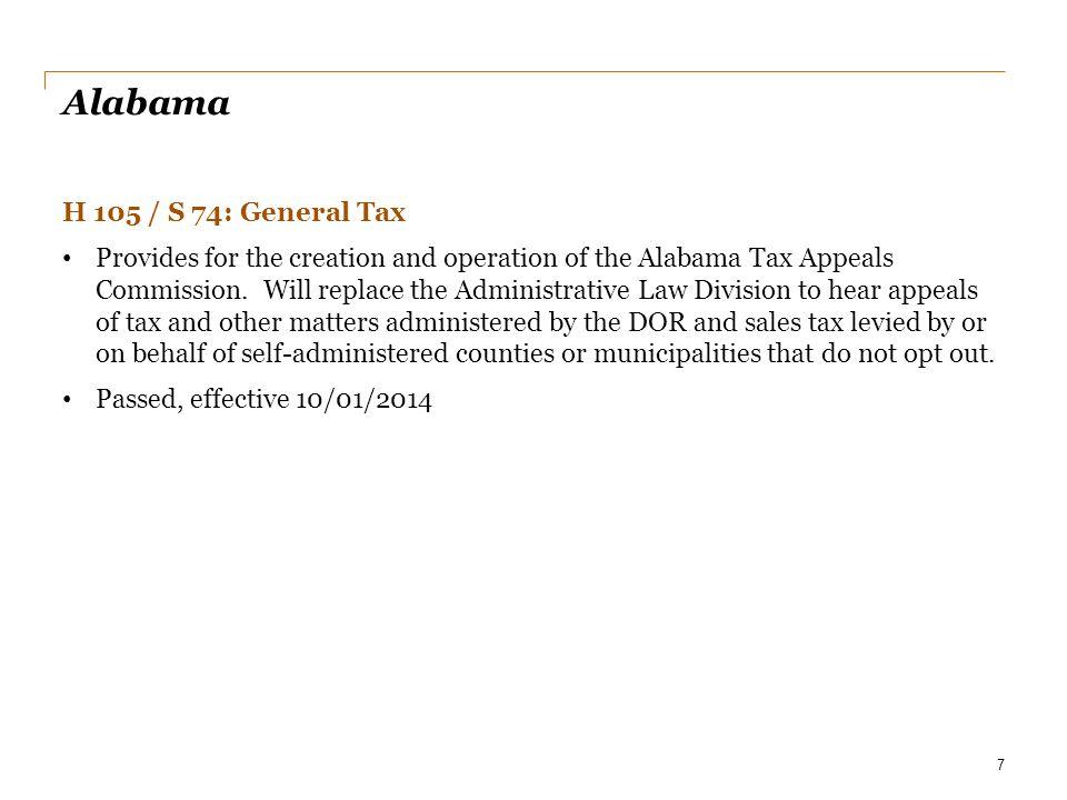 Alabama H 105 / S 74: General Tax
