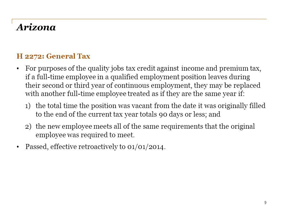 Date Arizona. H 2272: General Tax.