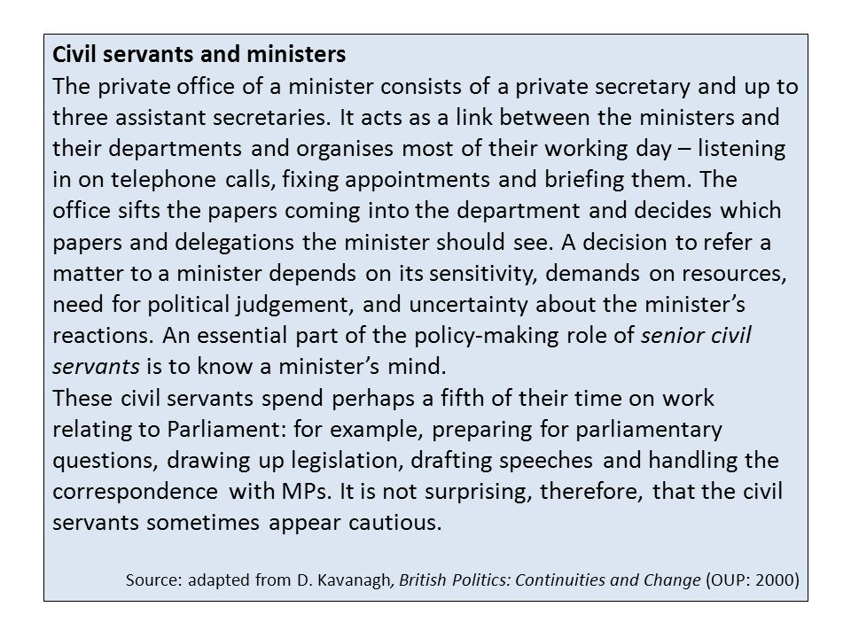 Civil servants and ministers
