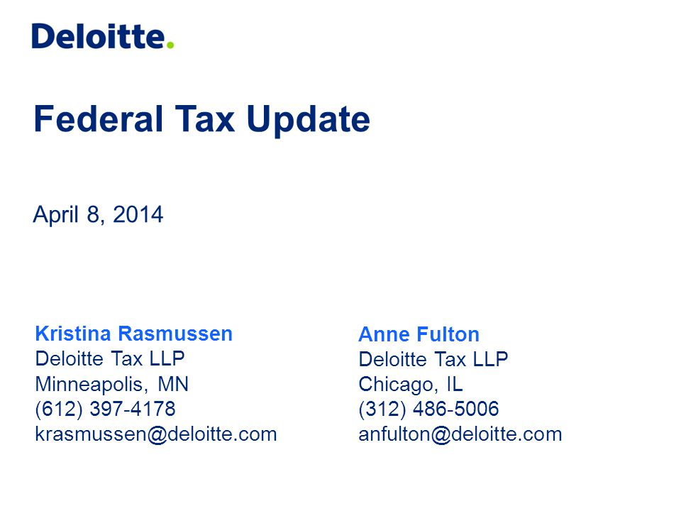 Federal Tax Update April 8, 2014