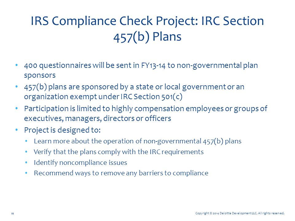 IRS Compliance Check Project: IRC Section 457(b) Plans