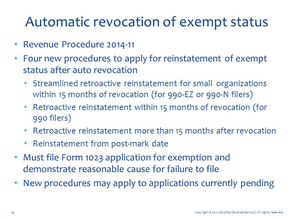 Automatic revocation of exempt status