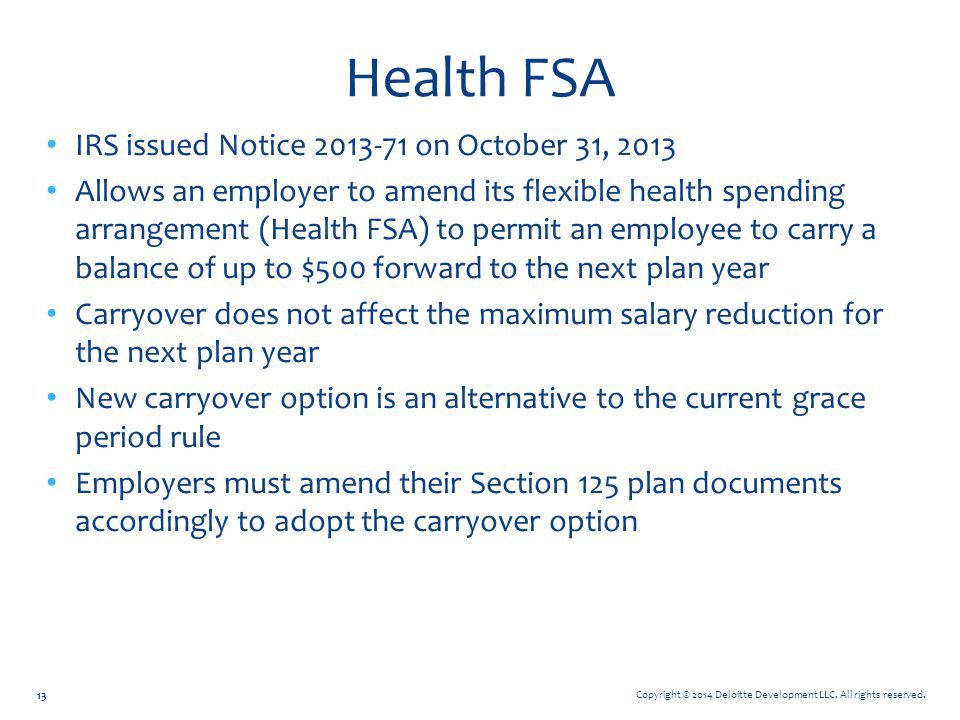 Health FSA IRS issued Notice 2013-71 on October 31, 2013