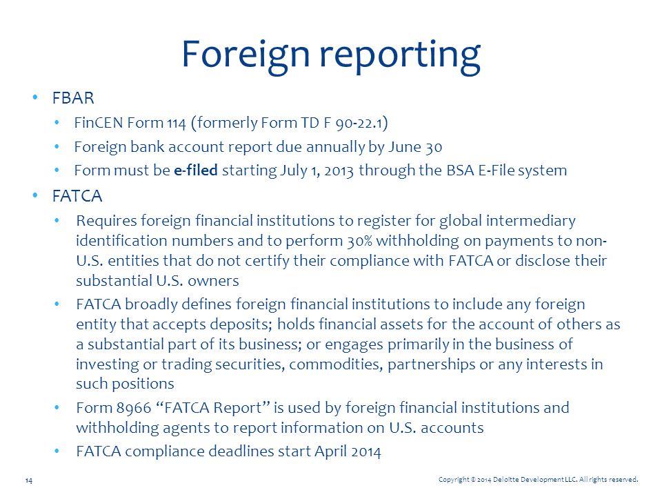 Foreign reporting FBAR FATCA