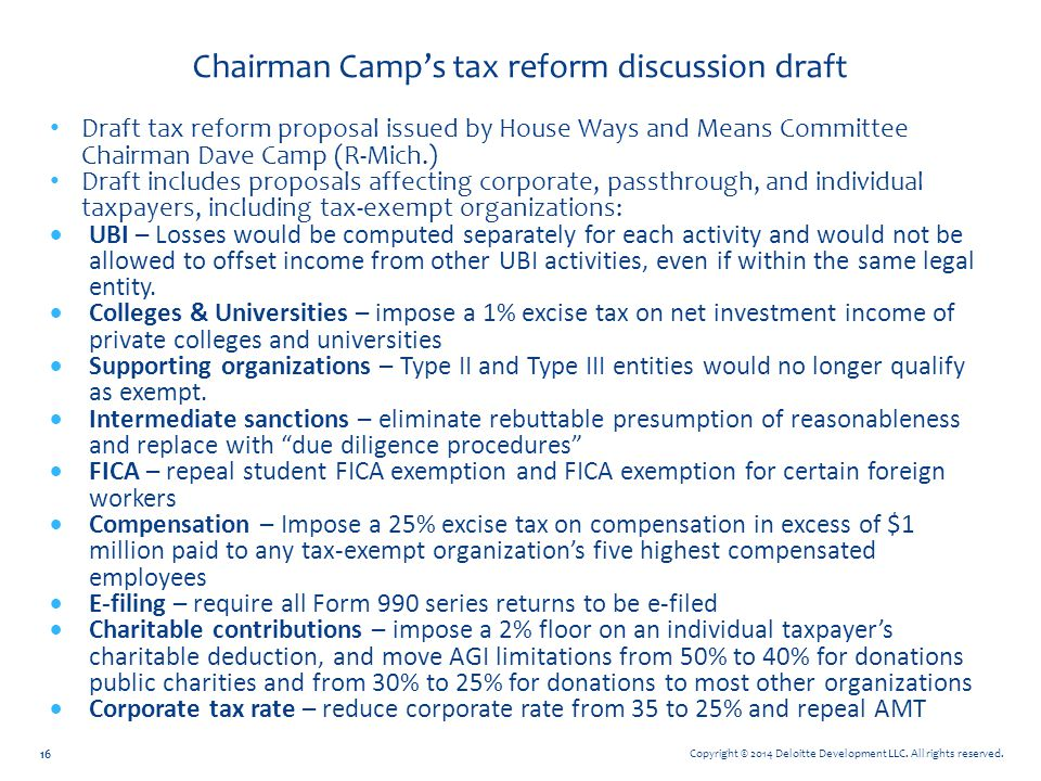 Chairman Camp's tax reform discussion draft