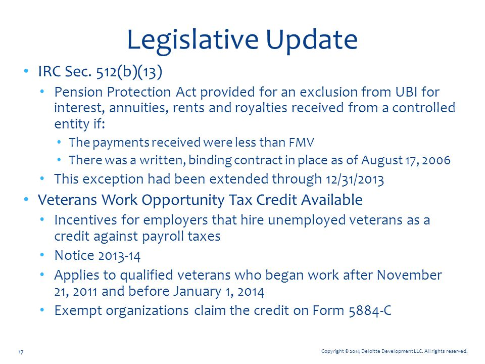 Legislative Update IRC Sec. 512(b)(13)