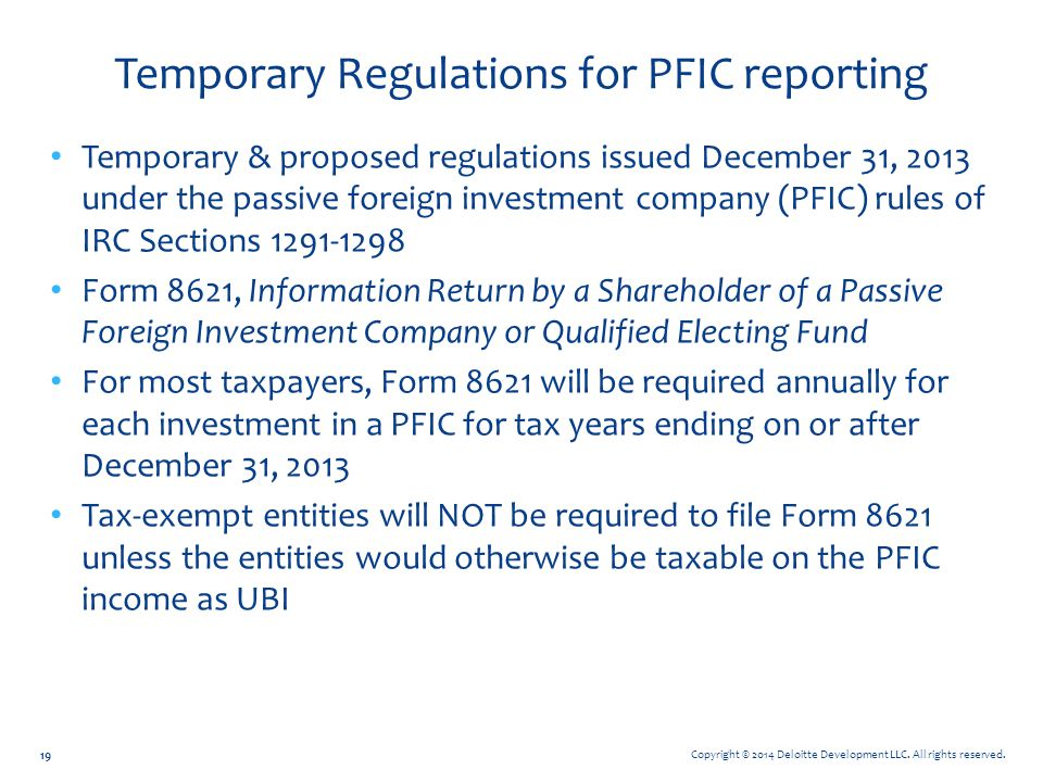 Temporary Regulations for PFIC reporting