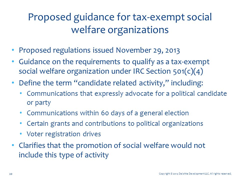 Proposed guidance for tax-exempt social welfare organizations