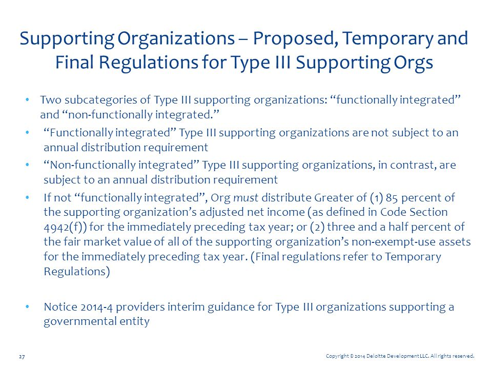 Supporting Organizations – Proposed, Temporary and Final Regulations for Type III Supporting Orgs