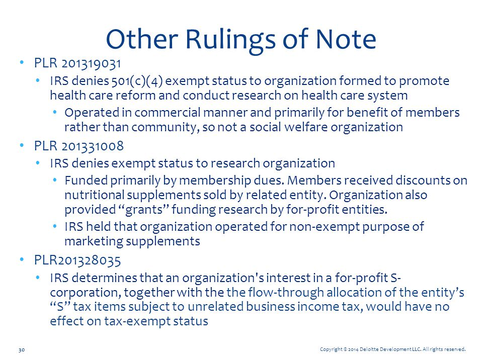 Other Rulings of Note PLR 201319031 PLR 201331008 PLR201328035
