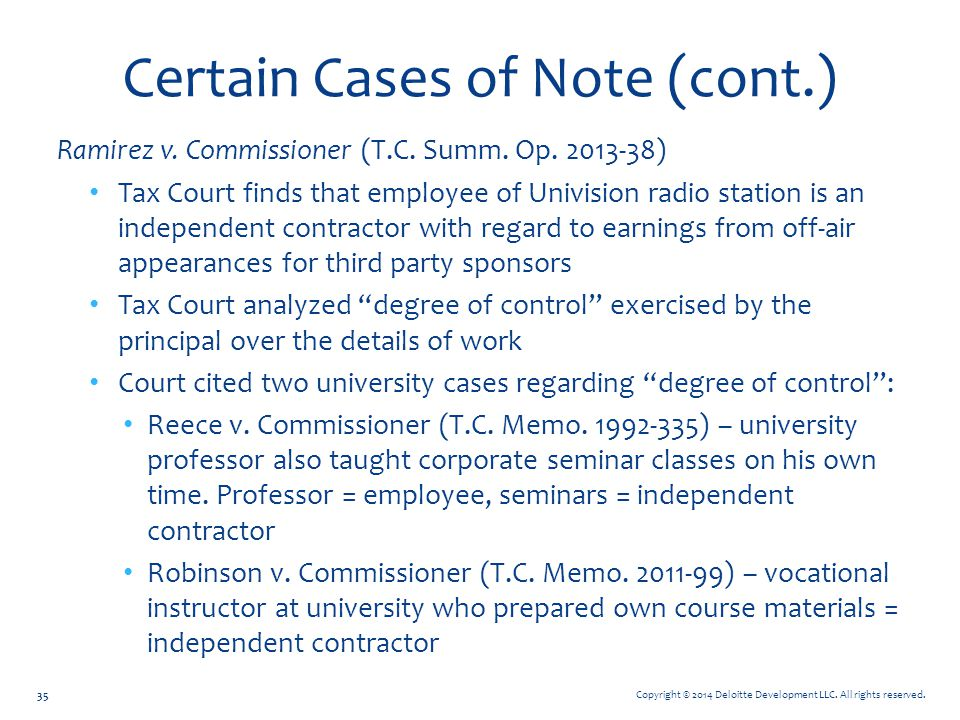 Certain Cases of Note (cont.)