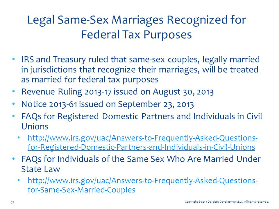 Legal Same-Sex Marriages Recognized for Federal Tax Purposes