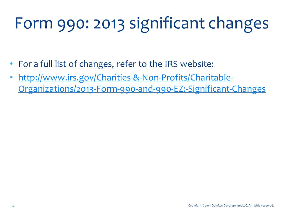 Form 990: 2013 significant changes