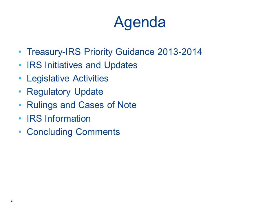 Agenda Treasury-IRS Priority Guidance 2013-2014