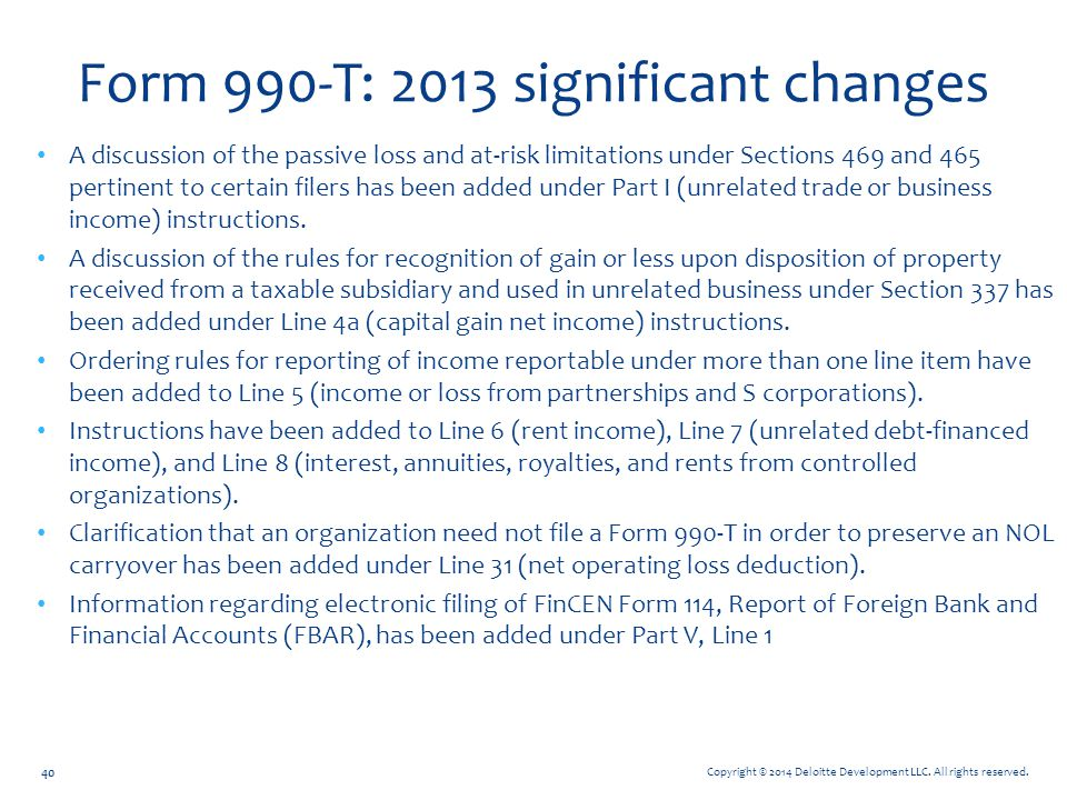 Form 990-T: 2013 significant changes