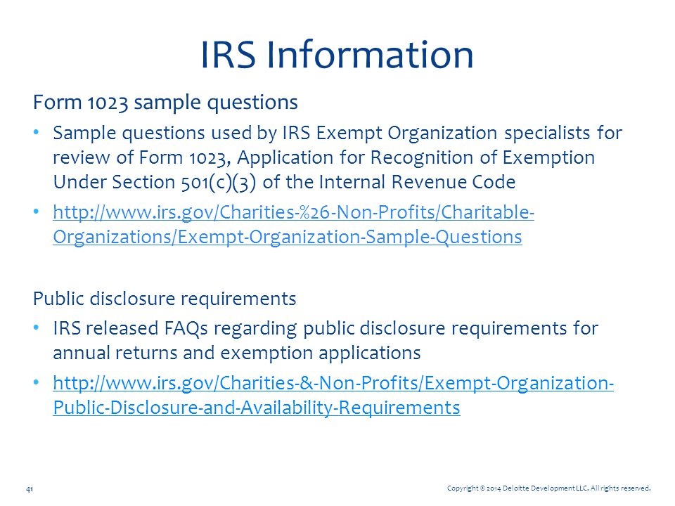 IRS Information Form 1023 sample questions
