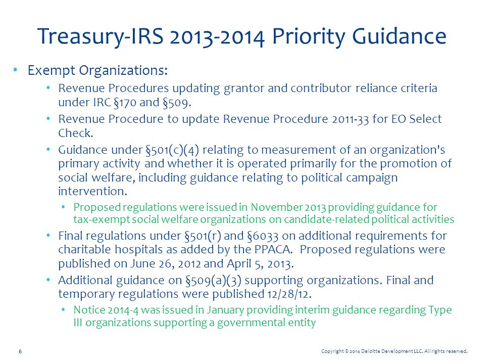 Treasury-IRS 2013-2014 Priority Guidance