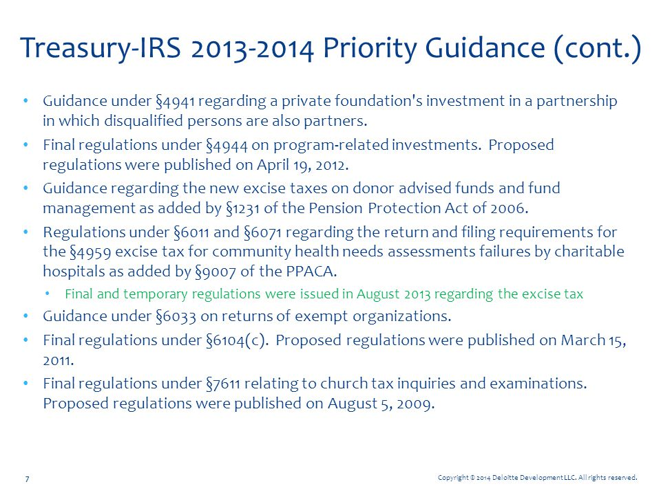 Treasury-IRS 2013-2014 Priority Guidance (cont.)