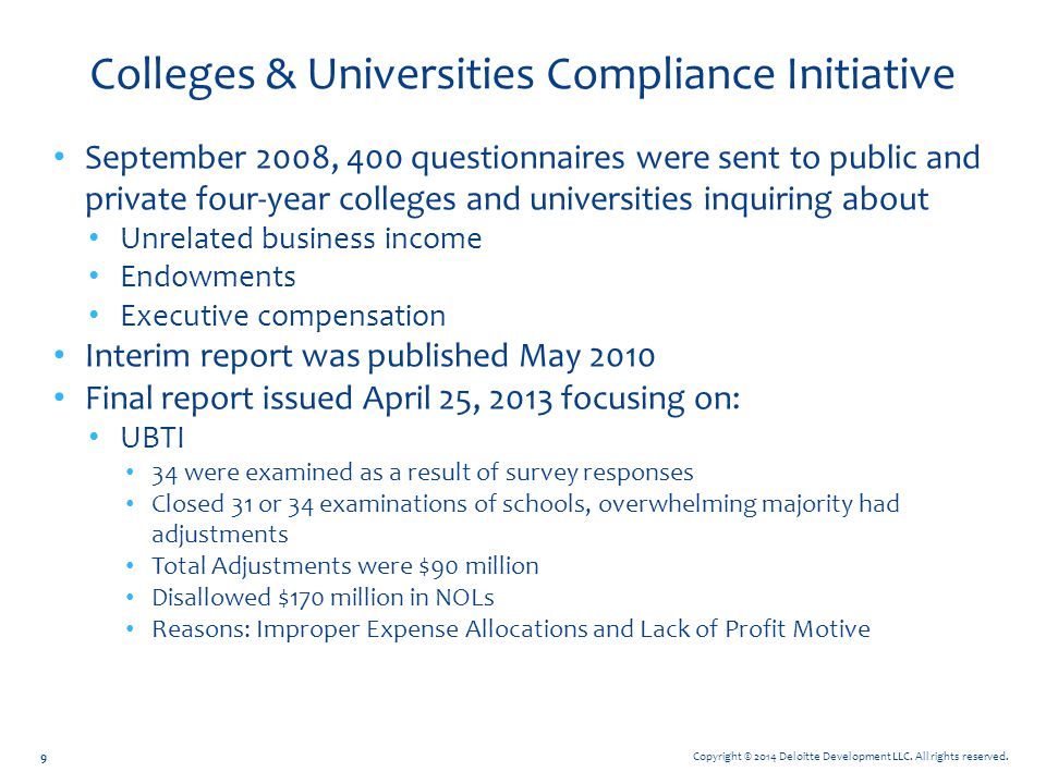 Colleges & Universities Compliance Initiative